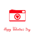 Red and white photo camera with heart Valentines vector image