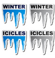 winter blue icicle stickers vector image