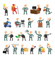 Business peoples set of icons flat design vector image vector image