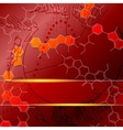 Red science background with molecules vector image