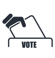 Hand with voting bulletin icon - election box vector image