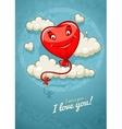 Red heart baloon flying among vector image