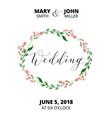 Wedding card with flower wreath invitation vector image