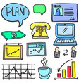 doodle of colorful business object vector image