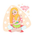 mothers day card with mom and her child vector image