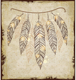 Decorative ethnic background with feathers vector image