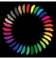 Colorful painted feathers folded into a circle vector image