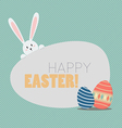 Happy easter with easter eggs and bunny vector image