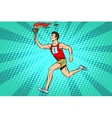 The man athlete torchbearer sports fire summer vector image