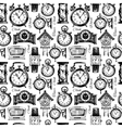 Hand drawn clocks and watches seamless pattern vector image