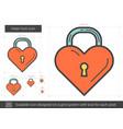 heart lock line icon vector image