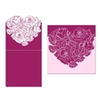 Laser cut card temlate with rose heart vector image