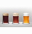 three glass beer mugs with a vector image