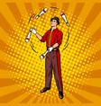 circus juggler pop art style vector image vector image