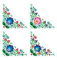 Corner border Polish floral folk pattern vector image vector image