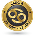 Cancer zodiac gold sign cancer symbol vector image vector image
