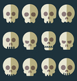 Cartoon skull icon set vector image vector image
