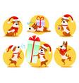 christmas cartoon dog emoticons emoji stickers vector image