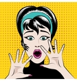 Scared pop art woman vector image