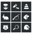 Set of Hunting Icons Hunter Ammunition vector image