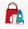 Baseball and rocket toy and game design vector image