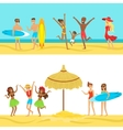 Happy People On Tropical Beach Vacation In Hawaii vector image
