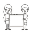 silhouette caricature full body couple holding a vector image