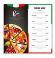 italian pizza menu design vector image