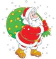 Santa with his bag of gifts vector image vector image
