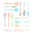 set of colourful outlined tribal arrows vector image
