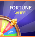 fortune wheel poster with earnings in 5000 dollars vector image