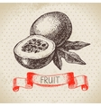Hand drawn sketch passion fruit Eco food vector image