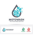 motorcycle wash logo bike care service brand vector image
