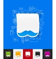 mustache paper sticker with hand drawn elements vector image