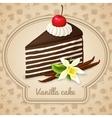 Vanilla layered cake poster vector image