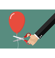 Hand cutting balloon string with scissors vector image