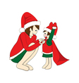Father and Son Dressing to be Santa vector image