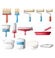 roller and paint brushes with colors vector image
