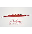 Anchorage skyline in red vector image