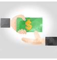 Hand handing over money to another hand vector image