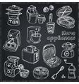 Home appliances themed doodle set vector image