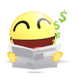 Happy Emoticon reading a business newspaper vector image
