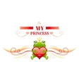 Happy Valentines day border frog prince in crown vector image