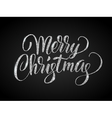 Merry christmas card with silver glitter lettering vector image