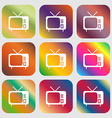 tv icon sign Nine buttons with bright gradients vector image