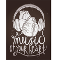 Design Of Music Poster With Anatomical Heart vector image