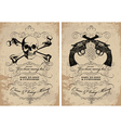Guns and skulls vintage frames vector image vector image