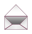 Blank paper envelopes opened with violet outline vector image