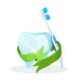 dental care poster tooth with toothbrush on vector image