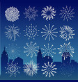 fireworks on city at night landscape background vector image